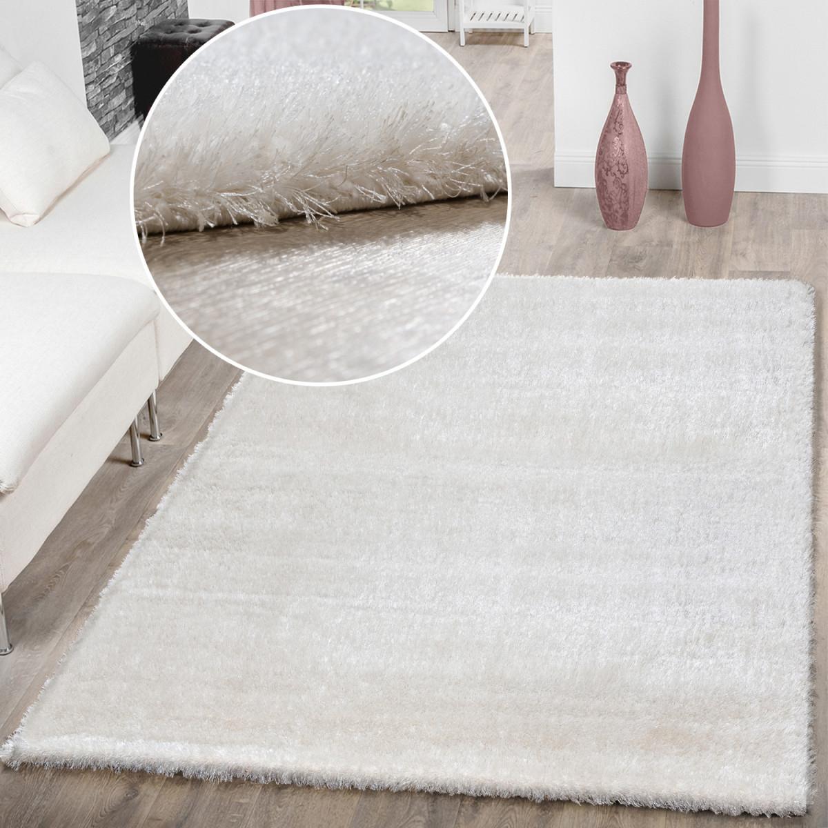 Details Zu Teppich Wohnzimmer Hochflor Teppiche Modern Elegant Weich  Schimmer In Uni Weiß von Teppich Wohnzimmer Weiß Bild