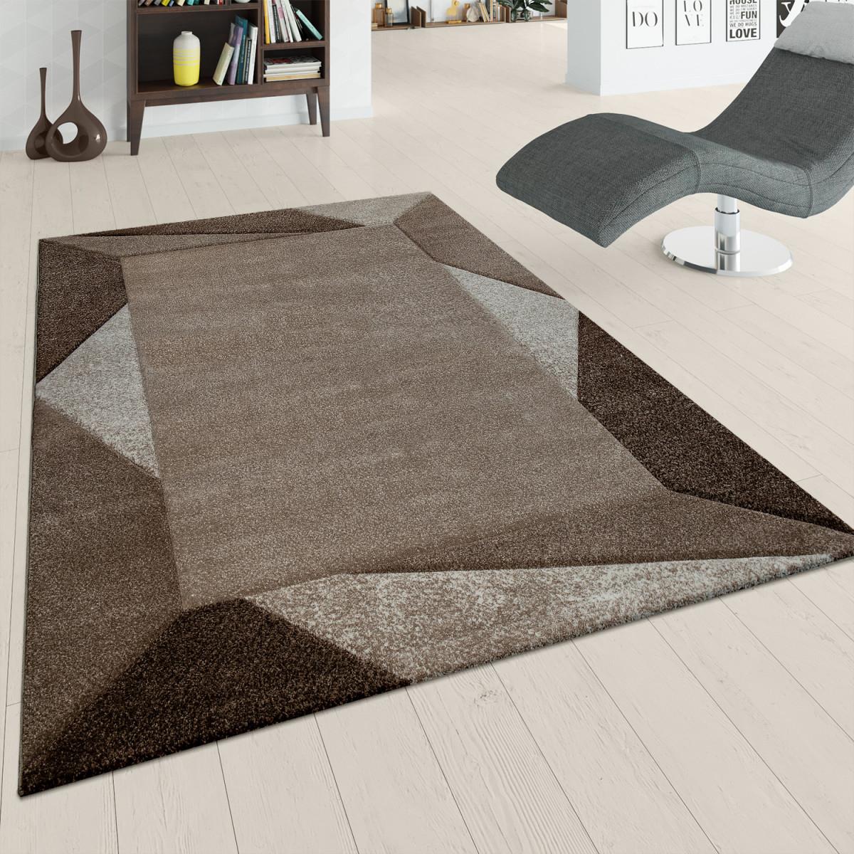 Details Zu Teppich Wohnzimmer Kurzflor Braun Beige Weich 3D Effekt Dreieck  Design Bordüre von Teppich Wohnzimmer Braun Photo