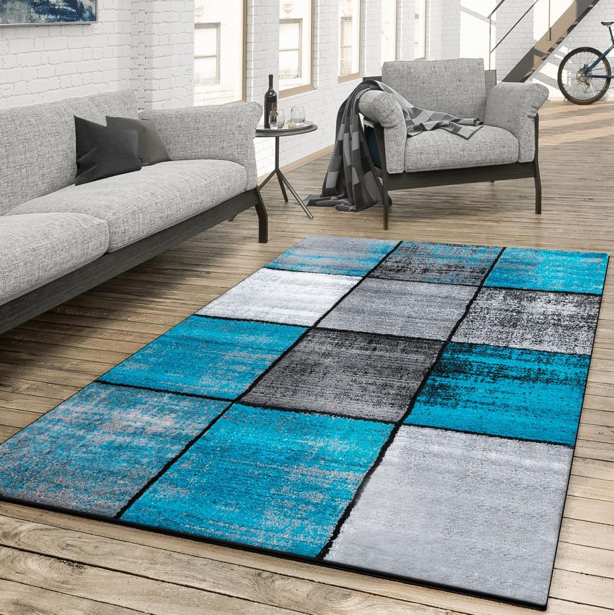 Details Zu Teppich Wohnzimmer Modern Kariert Meliert Grau Schwarz Türkis von Teppich Wohnzimmer Türkis Bild