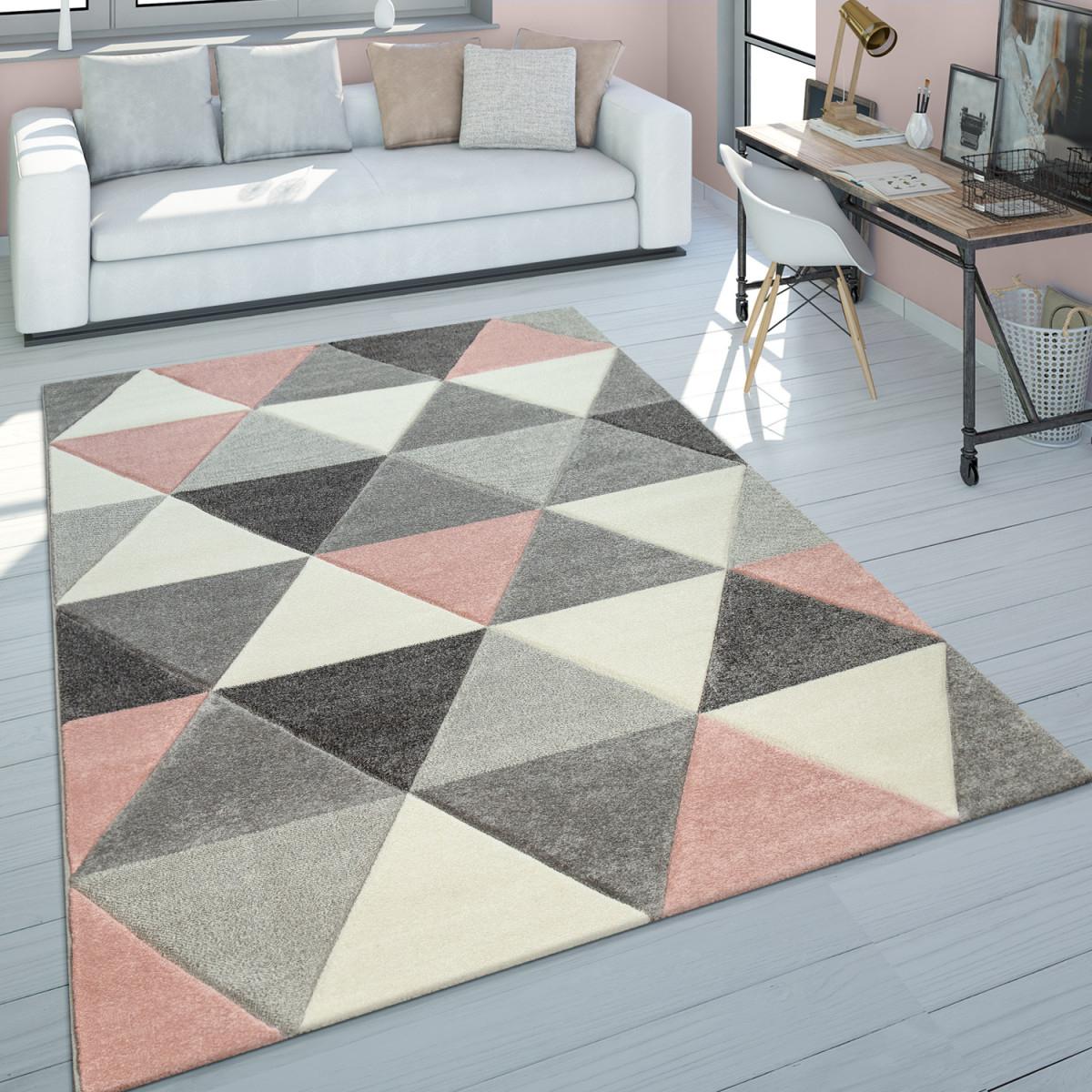 Details Zu Teppich Wohnzimmer Rosa Grau Pastellfarben 3D Design Dreieck  Muster Kurzflor von Wohnzimmer Teppich Grau Rosa Bild