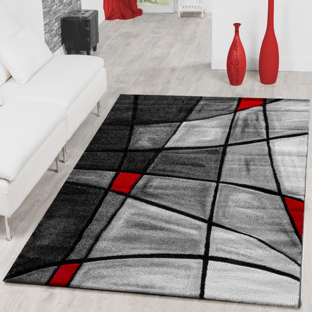 Details Zu Teppiche Wohnzimmer Teppich Porto Mit Konturenschnitt In Grau  Rot Schwarz von Teppich Wohnzimmer Rot Photo