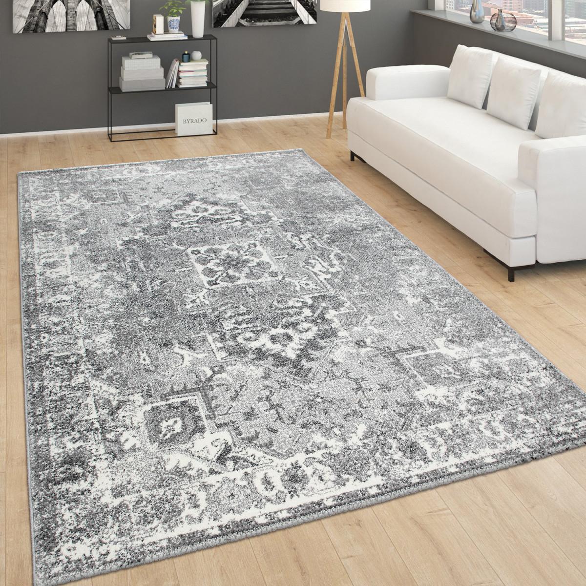 Details Zu Vintageteppich Für Wohnzimmer Kurzflor Im Orientdesign  Meliert In Grau von Teppich Wohnzimmer Vintage Bild