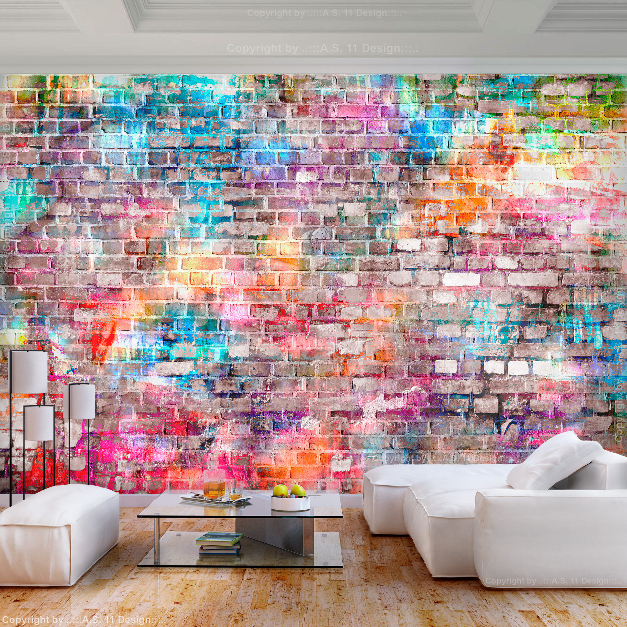 Details Zu Vlies Fototapete Ziegelwand Bunt Steine Tapete Wandbilder Xxl  Wohnzimmer von Bunte Tapeten Wohnzimmer Bild
