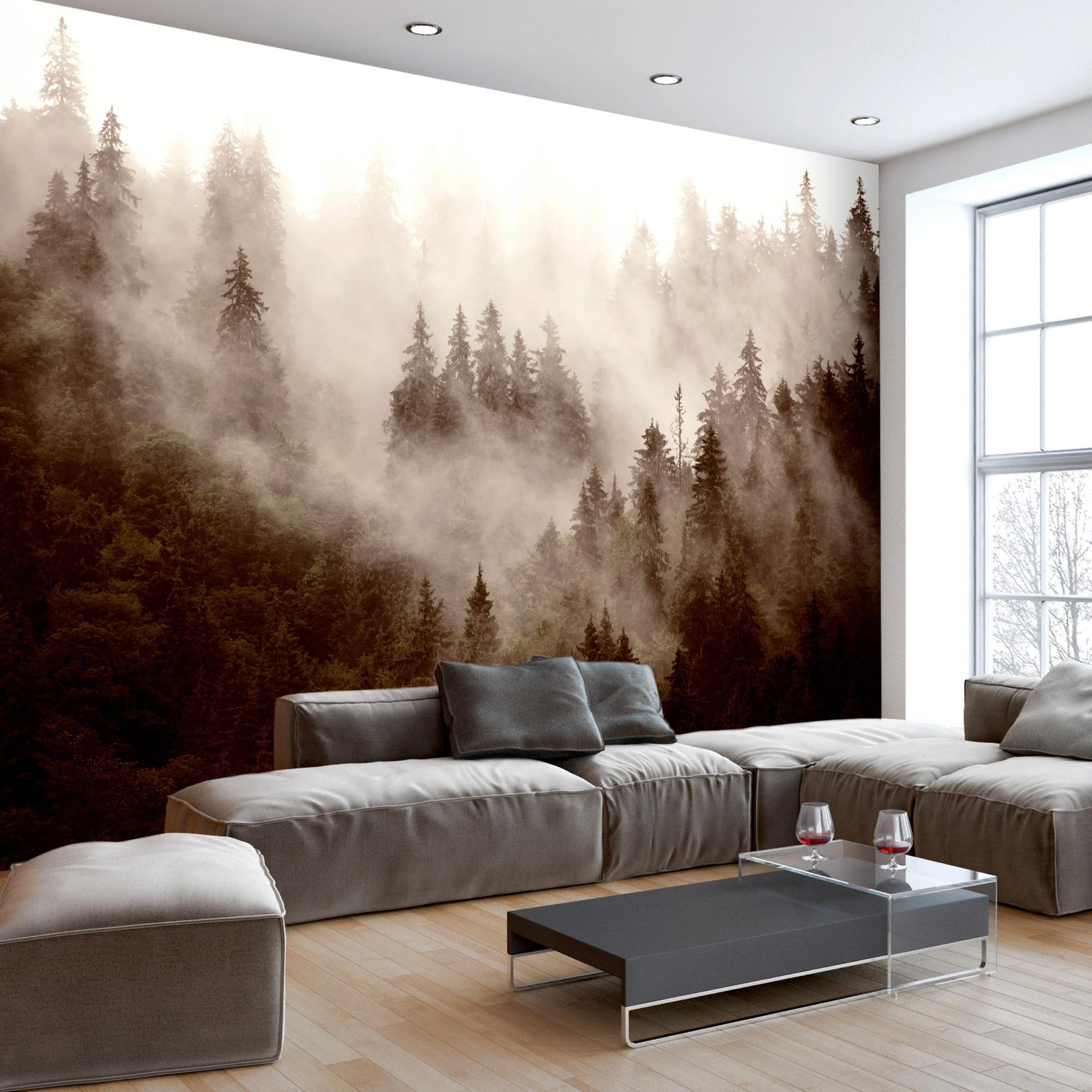 Naturmotive Wald Bäume Wandbild Wohnzimmer Schwarz Weiß In