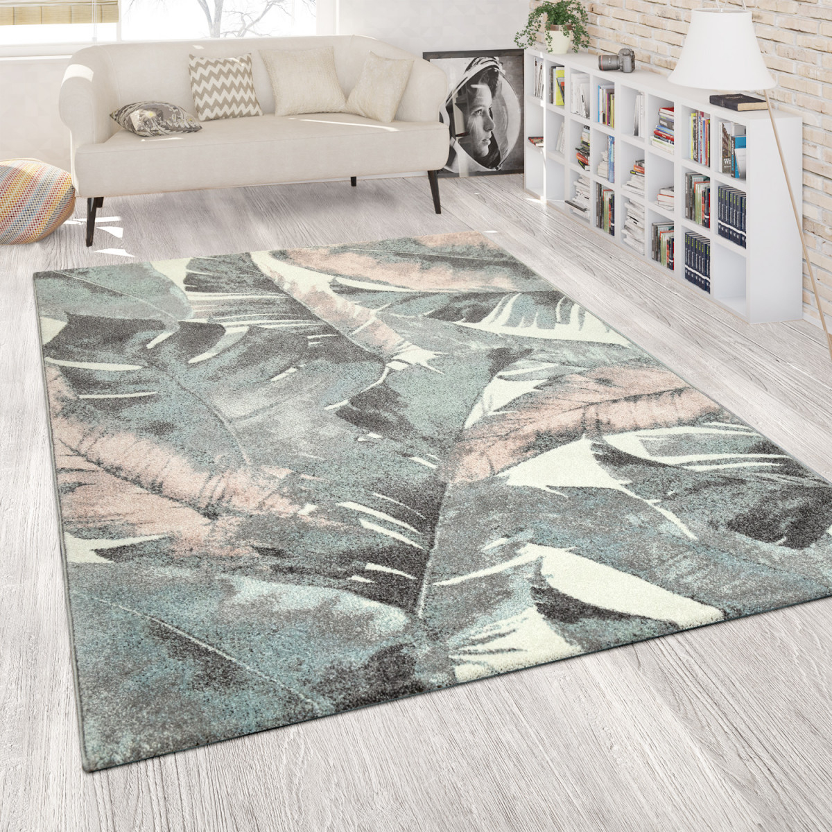 Details Zu Wohnzimmer Teppich Kurzflor Grün Rosa Bunt Pastellfarben Blumen  Palmen Design von Wohnzimmer Mit Teppich Photo