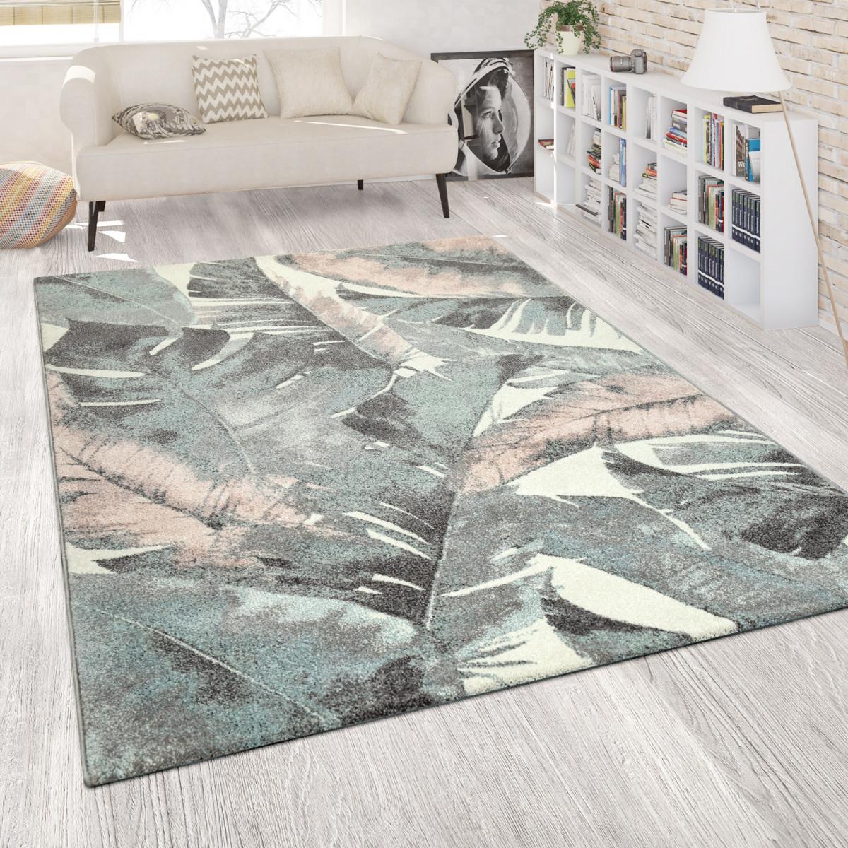 Details Zu Wohnzimmer Teppich Kurzflor Grün Rosa Bunt Pastellfarben Blumen  Palmen Design von Wohnzimmer Teppich Grün Bild