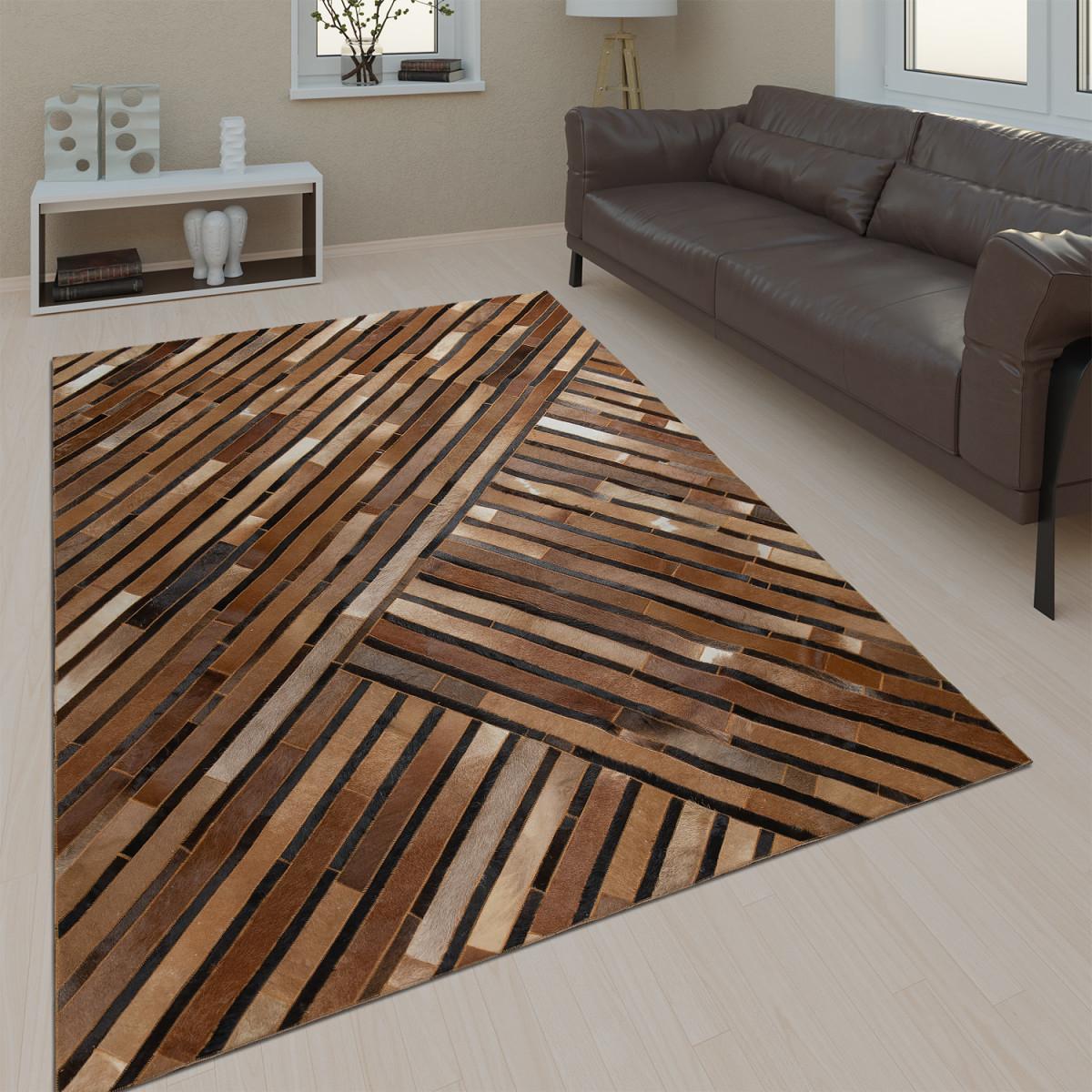 Details Zu Wohnzimmer Teppich Leder Wolle Modern Muster Streifen In Braun  Grau Schwarz von Wohnzimmer Teppich Braun Bild