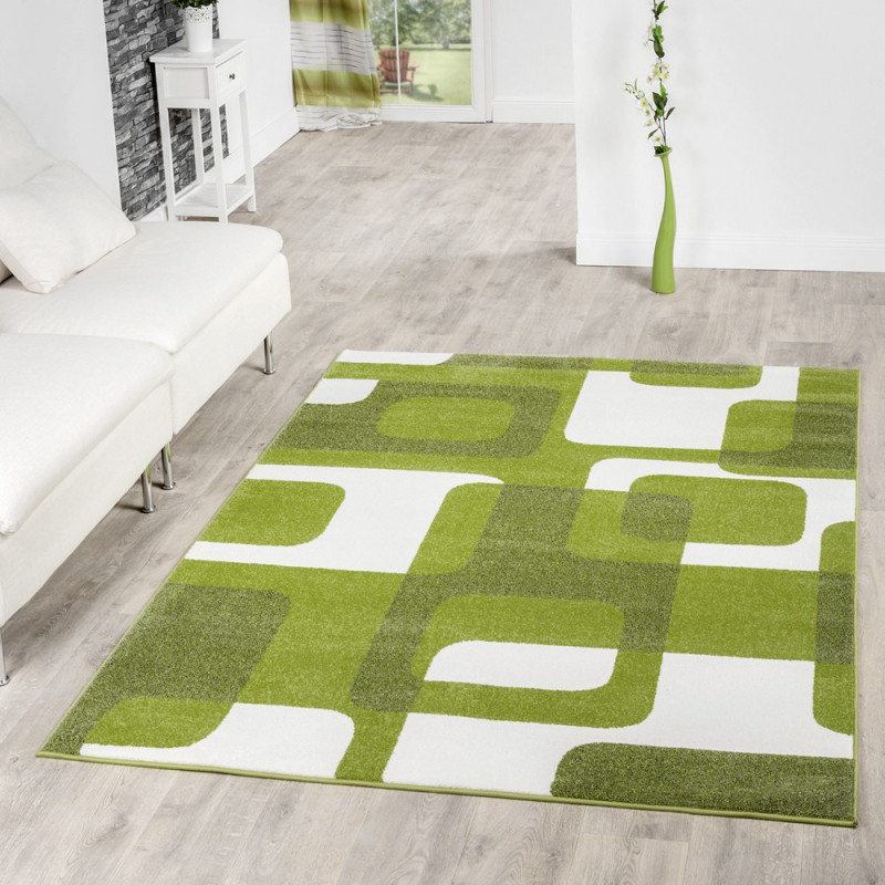 Details Zu Wohnzimmer Teppich Modern Grün Grau Weiß Retro Muster Kurzflor von Teppich Wohnzimmer Grün Bild