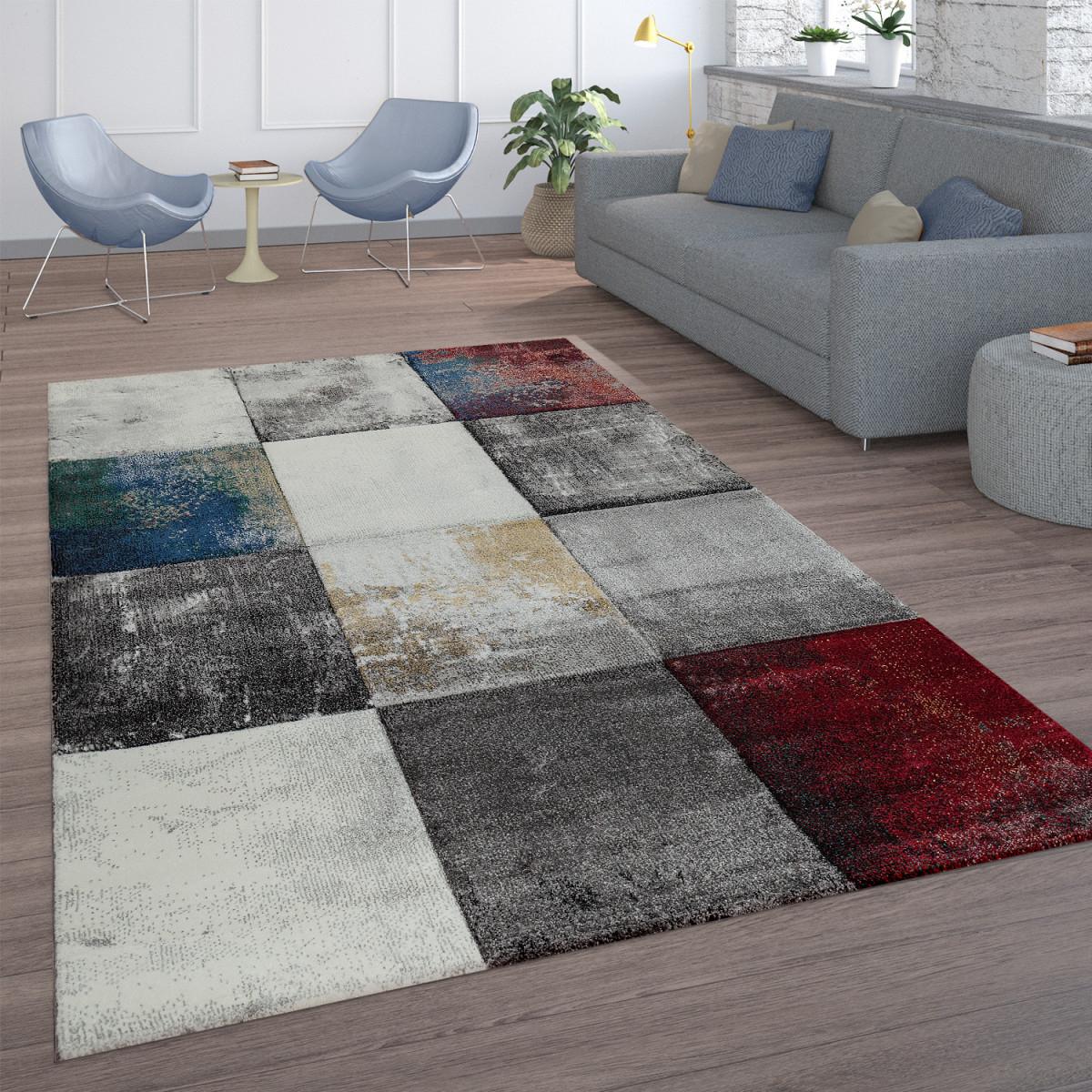 Details Zu Wohnzimmer Teppich Rot Grau Abstrakt Karo Muster Modern Gemälde  Kurzflor Weich von Teppich Vorleger Wohnzimmer Bild