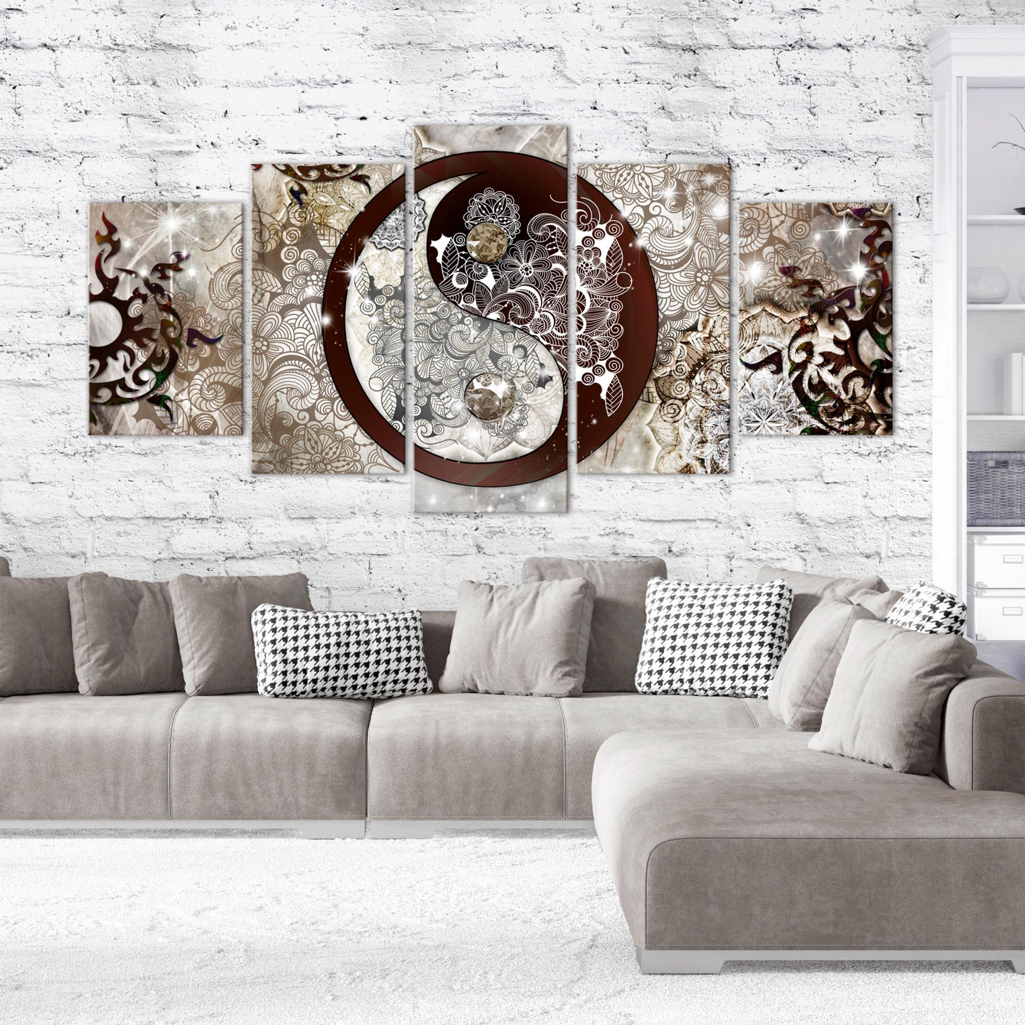 Details Zu Zen Abstrakt Leinwand Bilder Bild Wandbilder Yin Yang Xxl  Wohnzimmer Mehrteilig von Bilder Wohnzimmer Mehrteilig Photo