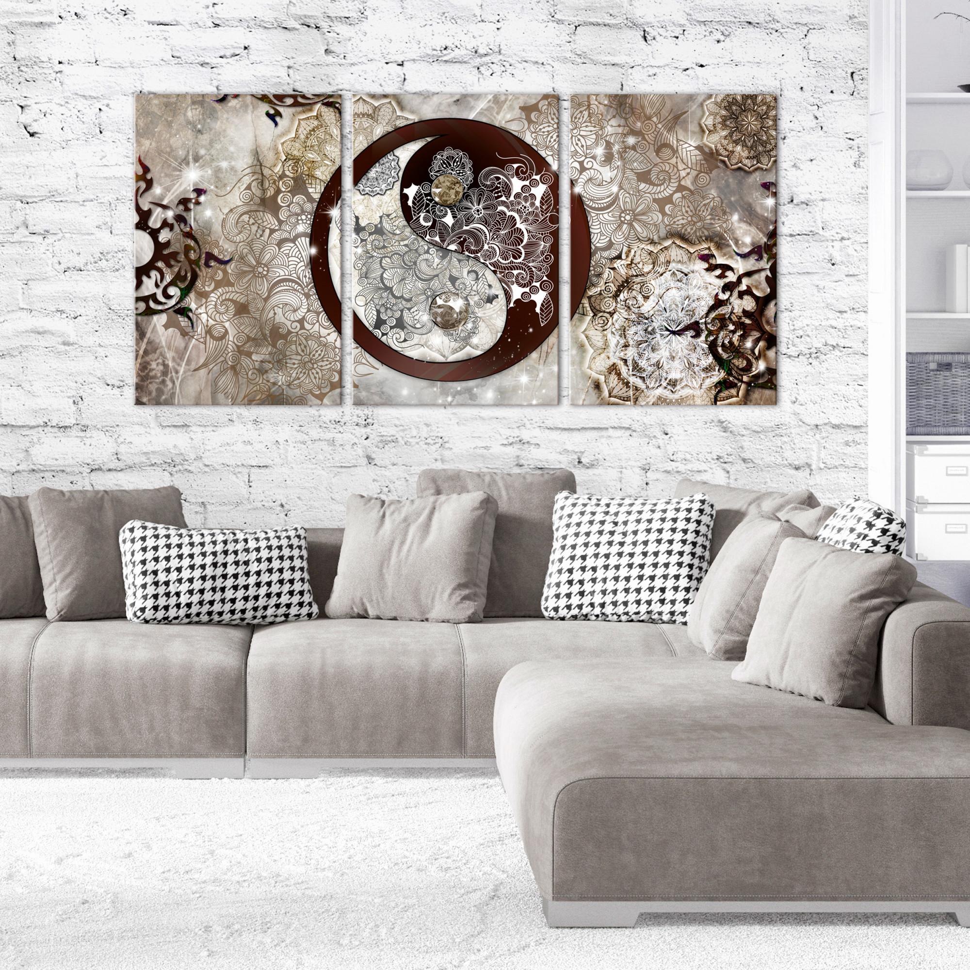 Details Zu Zen Abstrakt Leinwand Bilder Bild Wandbilder Yin Yang Xxl  Wohnzimmer Mehrteilig von Wohnzimmer Bilder Mehrteilig Photo