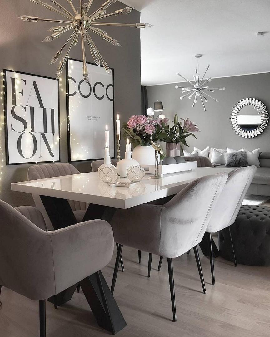 Dieses Esszimmer Ist Einfach Nur Wow Die Edle von Wohnzimmer Deko Weiss Silber Photo