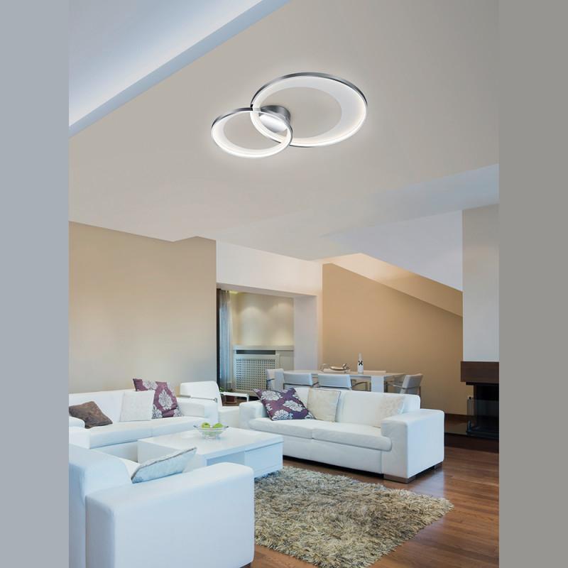 Doppelrunde Deckenlampe Wohnzimmer Chrom Dimmbar von Dimmbare Deckenlampe Wohnzimmer Bild