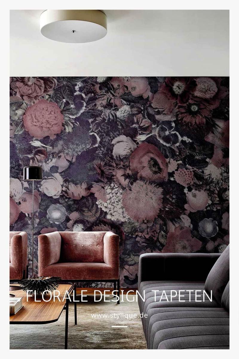 Dunkle Wohnzimmertapete Floral In 2020  Tapeten Exklusive von Italienische Tapeten Wohnzimmer Photo