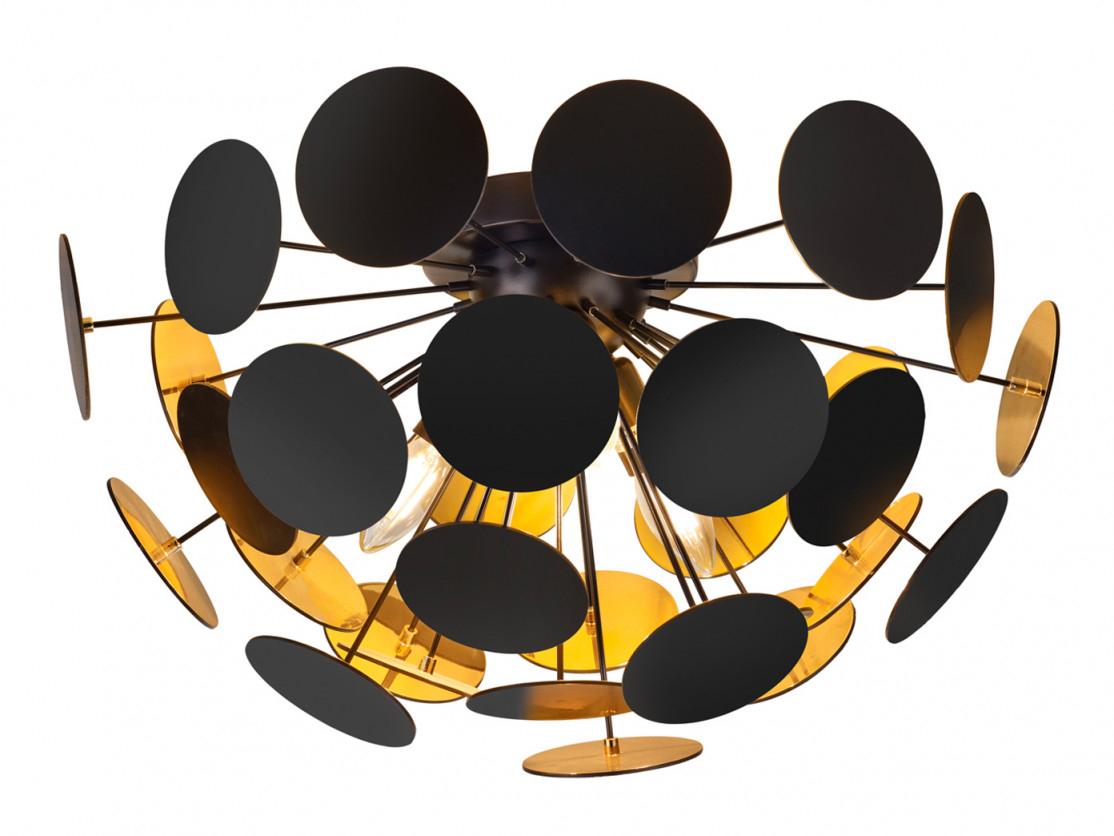 Edle Led Deckenleuchte Lampenschirm Schwarz Matt  Gold Ø 54Cm   Wohnzimmerlampe  Yatego von Wohnzimmer Lampe Gold Photo