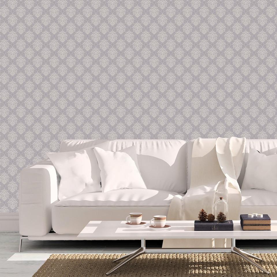Edle Ornamenttapete My Castle Damast Muster In Flieder Grau  Design Tapete  Für Schlafzimmer von Edle Tapeten Wohnzimmer Bild