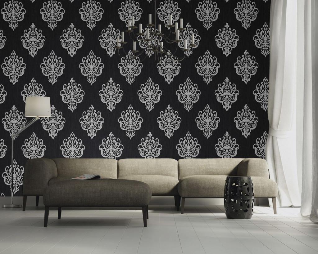 Edle Vliestapete Barock Ornament Schwarz Silber  Tapete von Edle Tapeten Wohnzimmer Bild