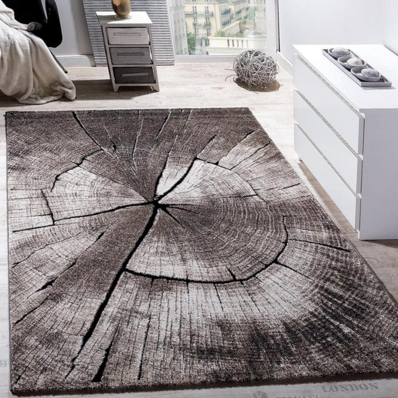 Edler Designer Teppich Wohnzimmer Holzstamm Baum Optik Natur Grau Braun  Beige von Wohnzimmer Teppich 160X230 Bild