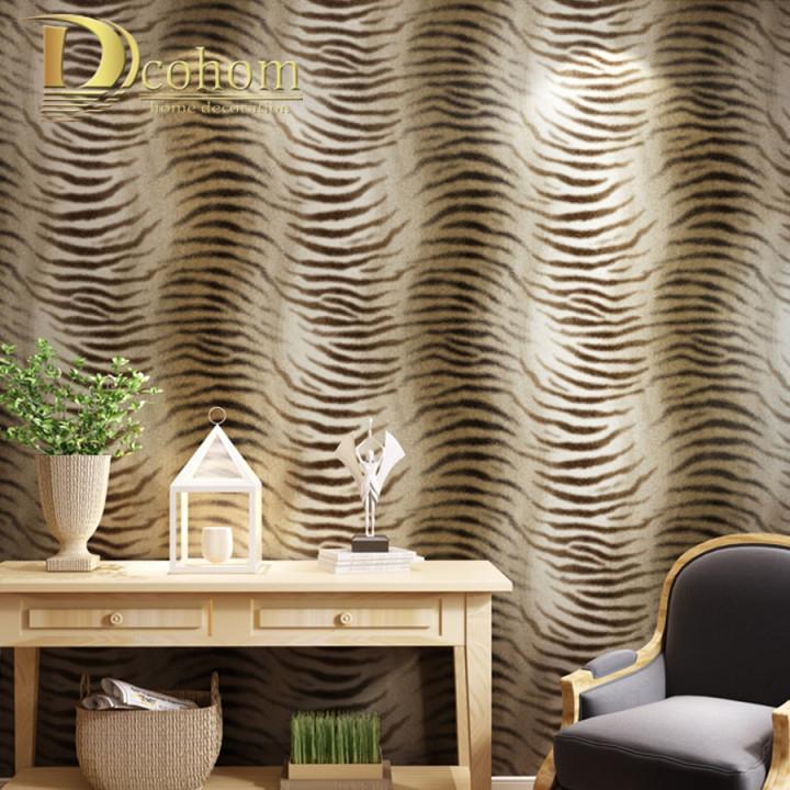 Einfache Moderne Tapete Design Tiger Haut Muster Tapete Für von Moderne Tapeten Wohnzimmer Photo