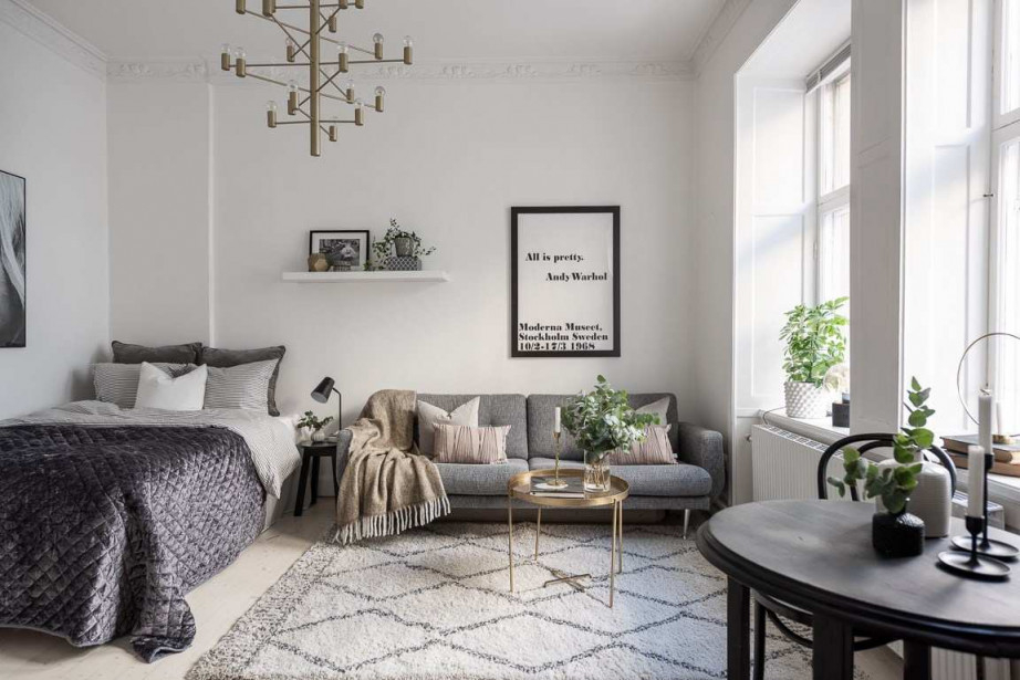 Einrichtungsbeispiele Für Wohn Und Schlafzimmer In von Ideen Wohnzimmer Und Schlafzimmer In Einem Bild
