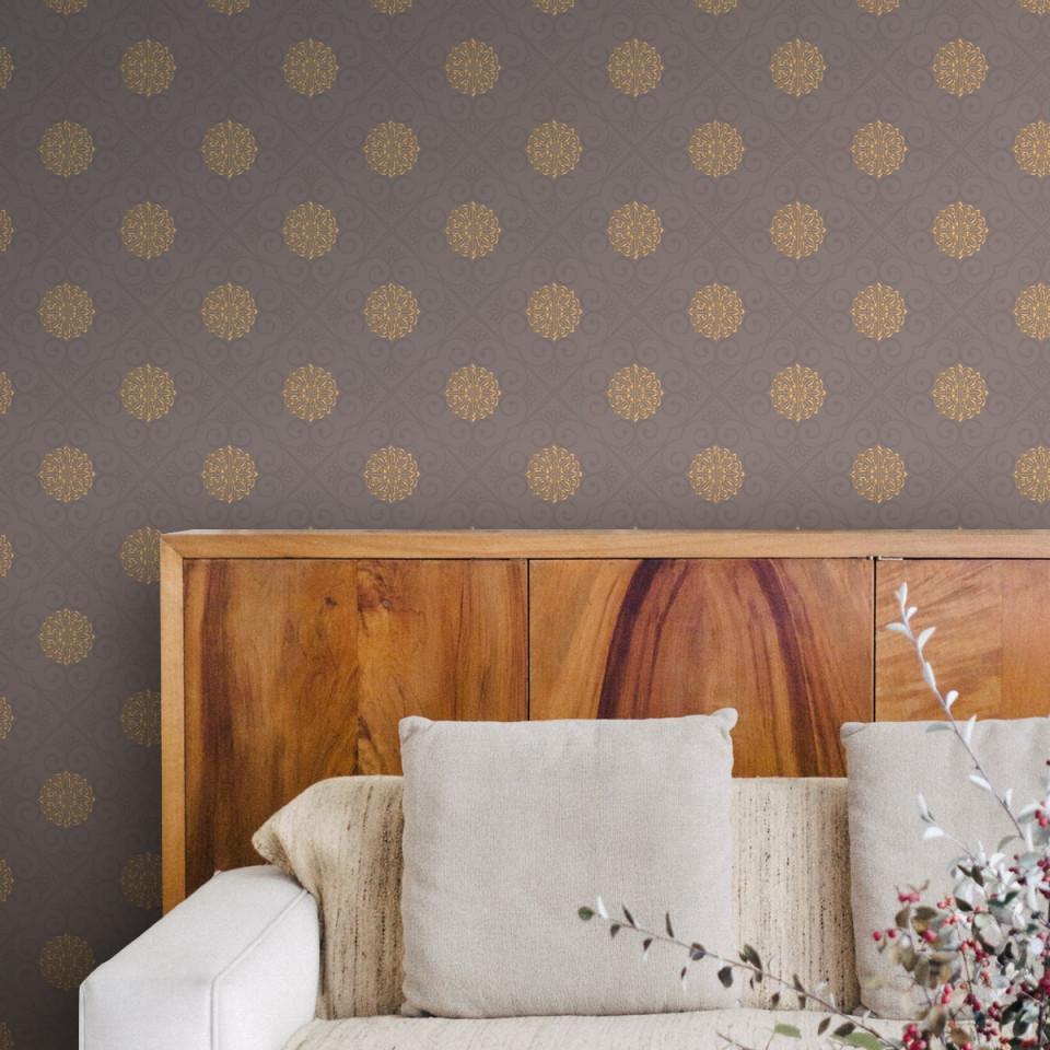 """Elegante Oriental Tapete """"mandarin"""" Grau Braune Vliestapete  Ornamenttapete Für Wohnzimmer von Elegante Tapeten Wohnzimmer Bild"""