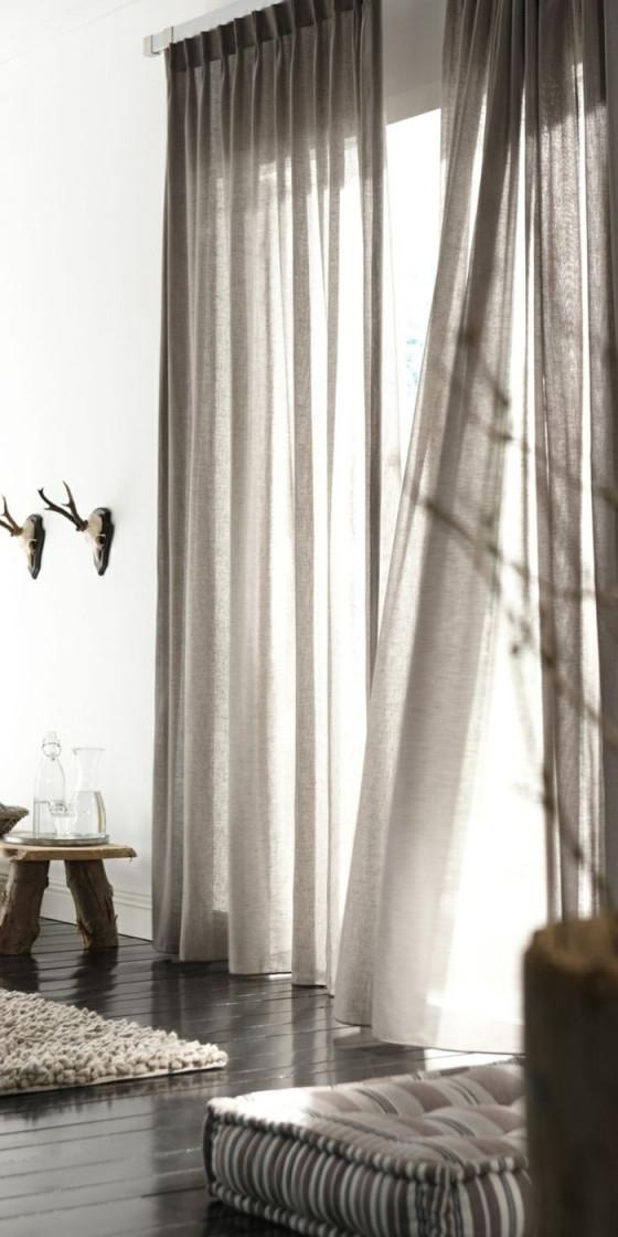 Eleganteswohnzimmerinterieurrustikaleelementemoderne von Graue Gardinen Wohnzimmer Photo