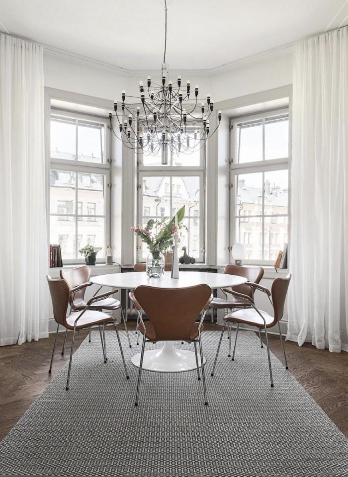 Esszimmer Modern Teppich Gardinen Holzstuhl Erker von Gardinen Für Erker Wohnzimmer Bild