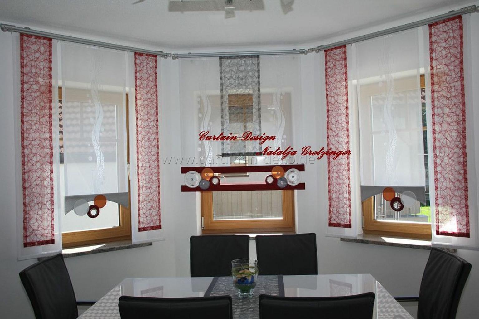 Esszimmer Schiebevorhänge In Eckform Mit Kreisbogen von Bogen Gardinen Wohnzimmer Bild