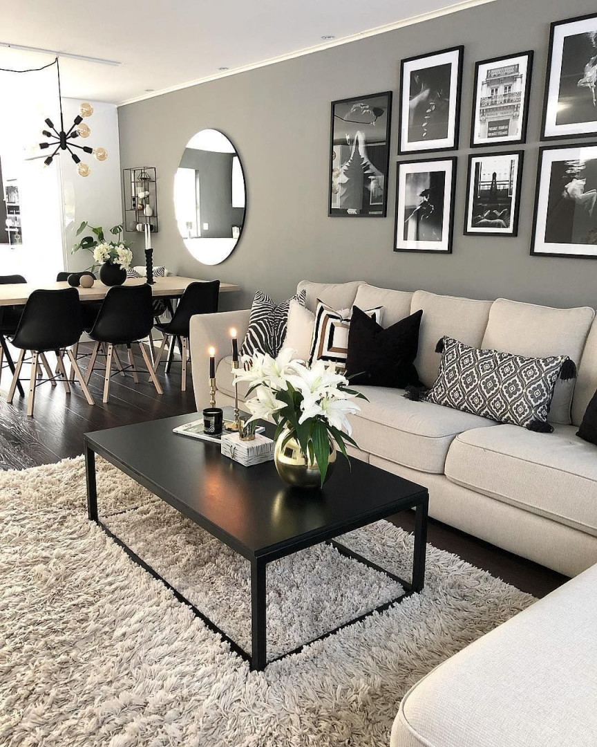 📷 @interiorbymaria 💙 ⠀ ⠀ Wooow 😍 Einfach Klasse von Schwarz Weiß Bilder Wohnzimmer Photo