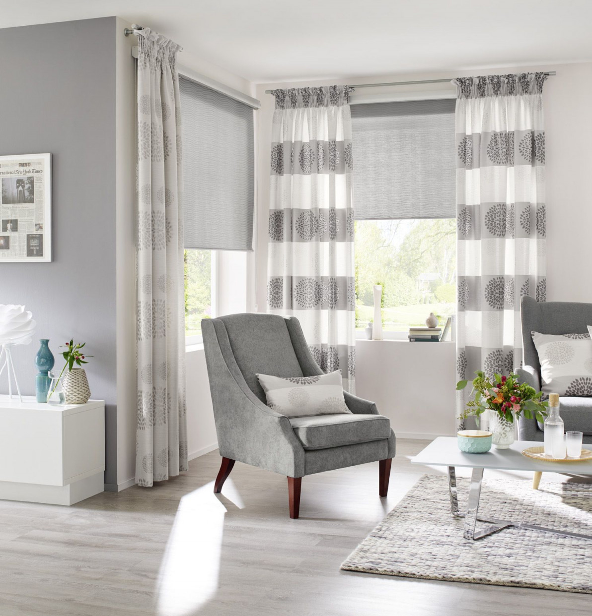 Fenster Globe Gardinen Dekostoffe Vorhang Wohnstoffe von Gardinen Ideen Für Wohnzimmer Fenster Bild