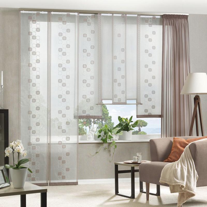 Flächenvorhang Bestickter Organza Mit Voileapplikationen von Gardinen Stores Für Wohnzimmer Bild