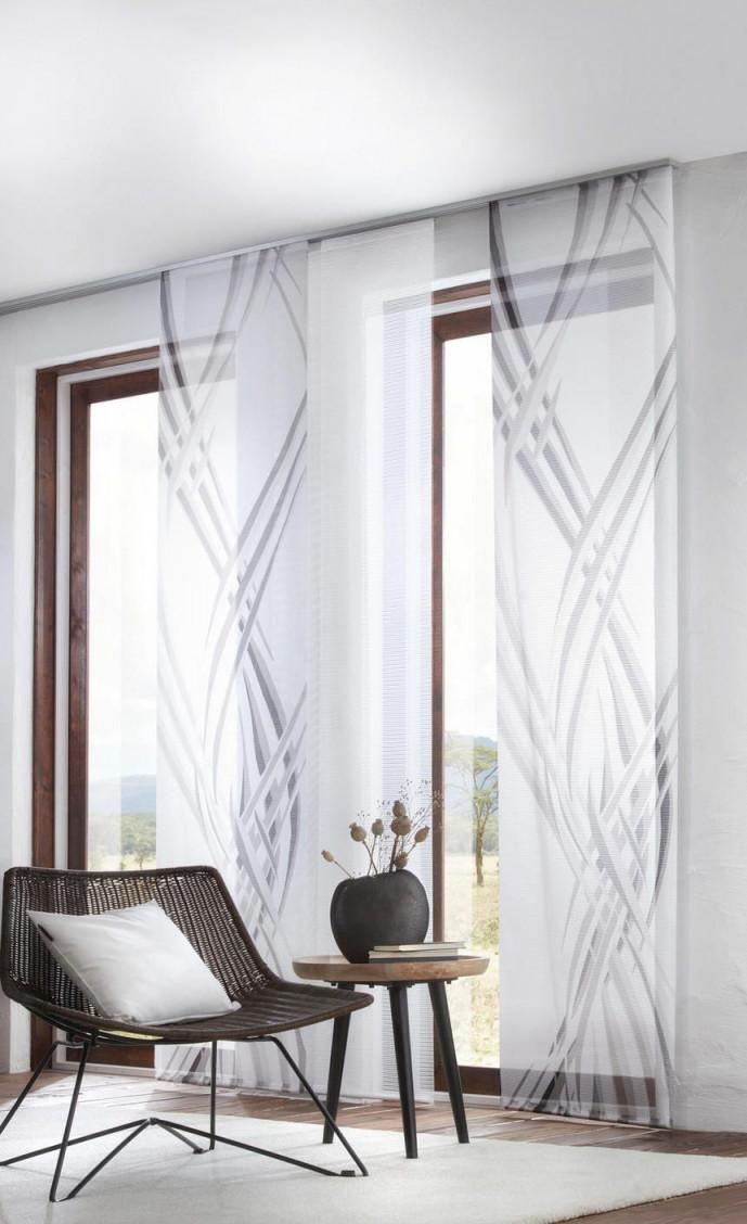 Flächenvorhang Schwarz Weiß Wellen Transparenter Vorhang von Wohnzimmer Gardinen Schwarz Weiß Bild