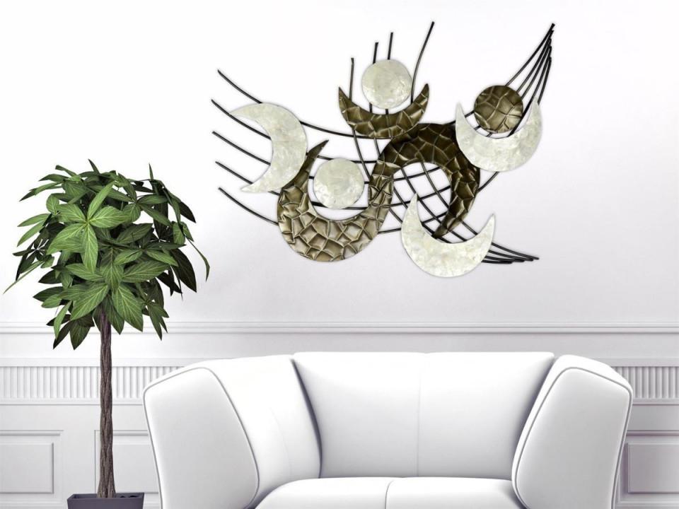 Formano Wandbild Aus Metall Muschel Retro Silber von Moderne Wanddekoration Wohnzimmer Photo
