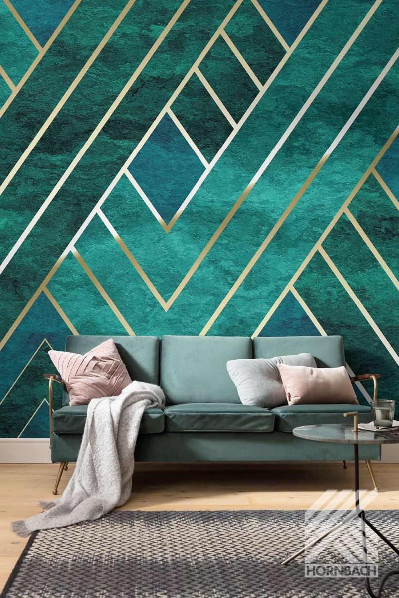 Fototapete Art Deco Grün In 2020  Haus Innenarchitektur von Bunte Tapeten Wohnzimmer Photo