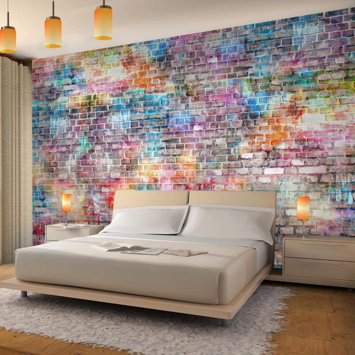 Fototapete Ziegelmauer 3D Bunt Vlies Wand Tapete Wohnzimmer von Bunte Tapeten Wohnzimmer Bild