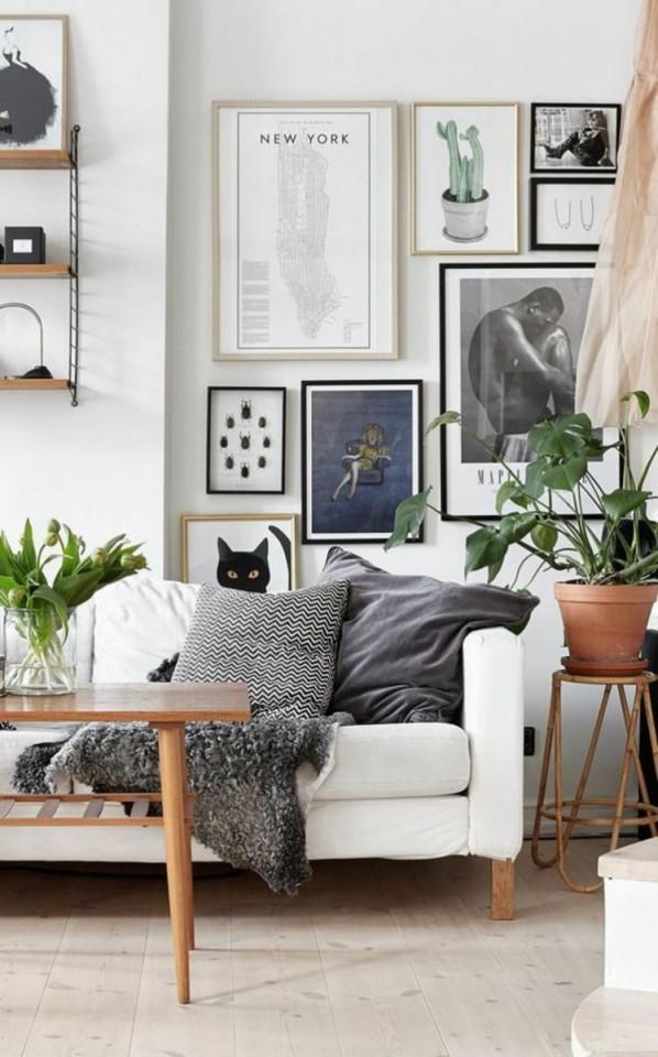 Fotowandideenwohnzimmerwanddekorierenbilderrahmen von Bilderrahmen Wohnzimmer Ideen Bild