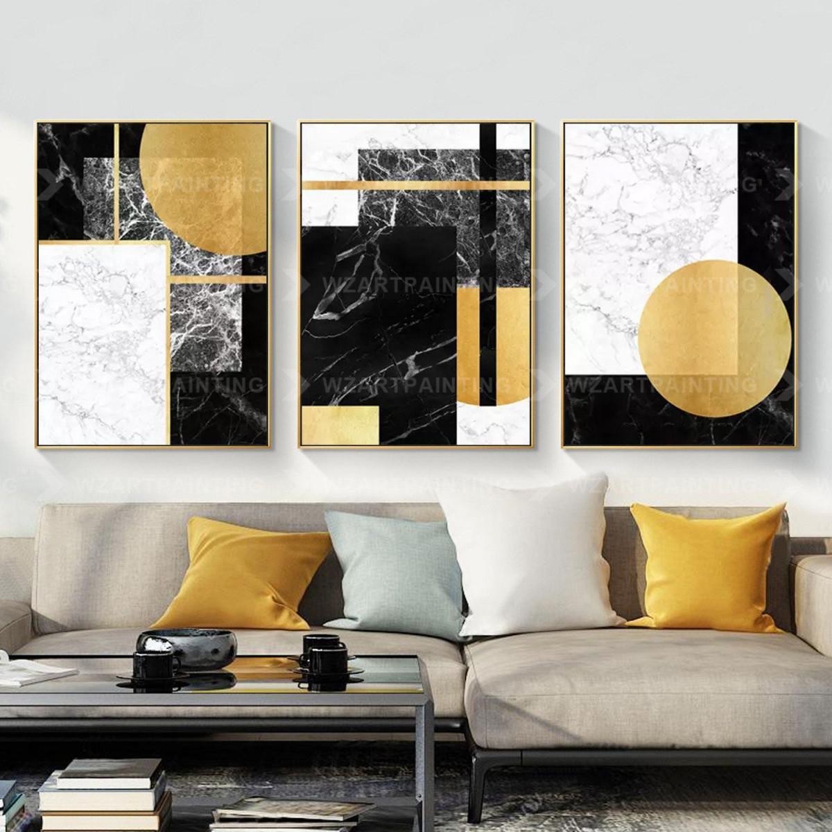 Framed Wall Art Set Of 3 Prints Geometric Gold Black von Bilder Set Wohnzimmer Bild