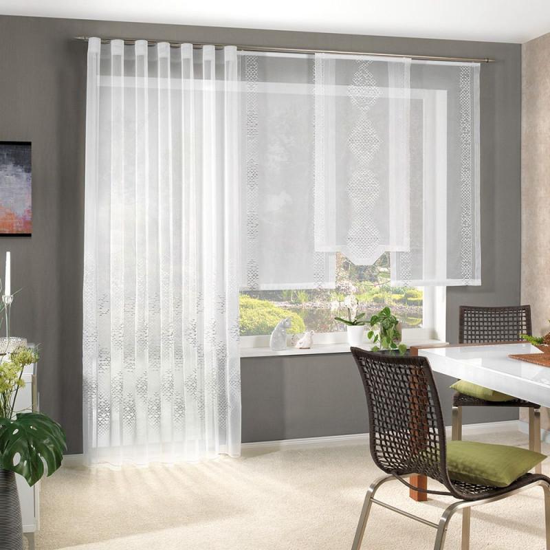 Gardine Bestickter Halborganza 300 Cm Hoch Flächenvorhang von Gardinen Stores Für Wohnzimmer Photo