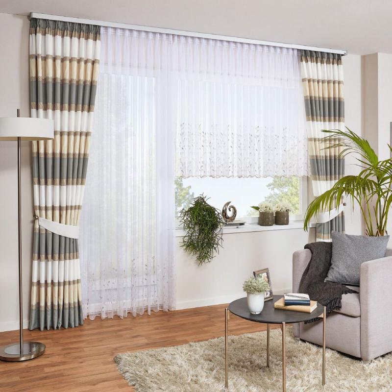 Gardine Mit Querstreifen  Gardinen Wohnzimmer Vorhänge von Wohnzimmer Gardinen Lang Photo