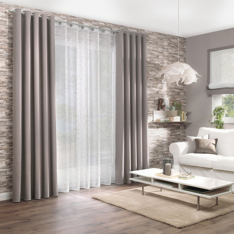 Gardine Und Dekostoff Für Ihr Wohnzimmer  Gardinen von Wohnzimmer Gardinen Grau Bild