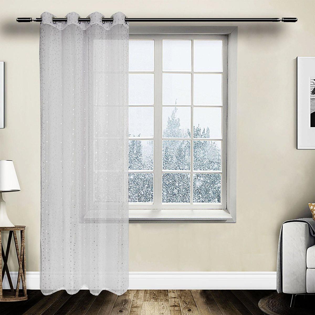 Gardine Vorhang Transparent Ösen Mit Muster Weiss  Vorhänge von Ösen Gardinen Wohnzimmer Bild