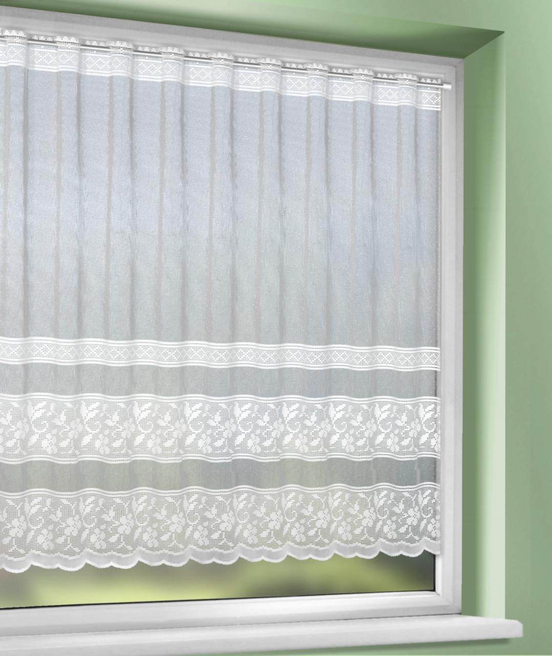Gardine  Weiß  Floral  150X120 Cm von Gardinen Wohnzimmer Roller Bild