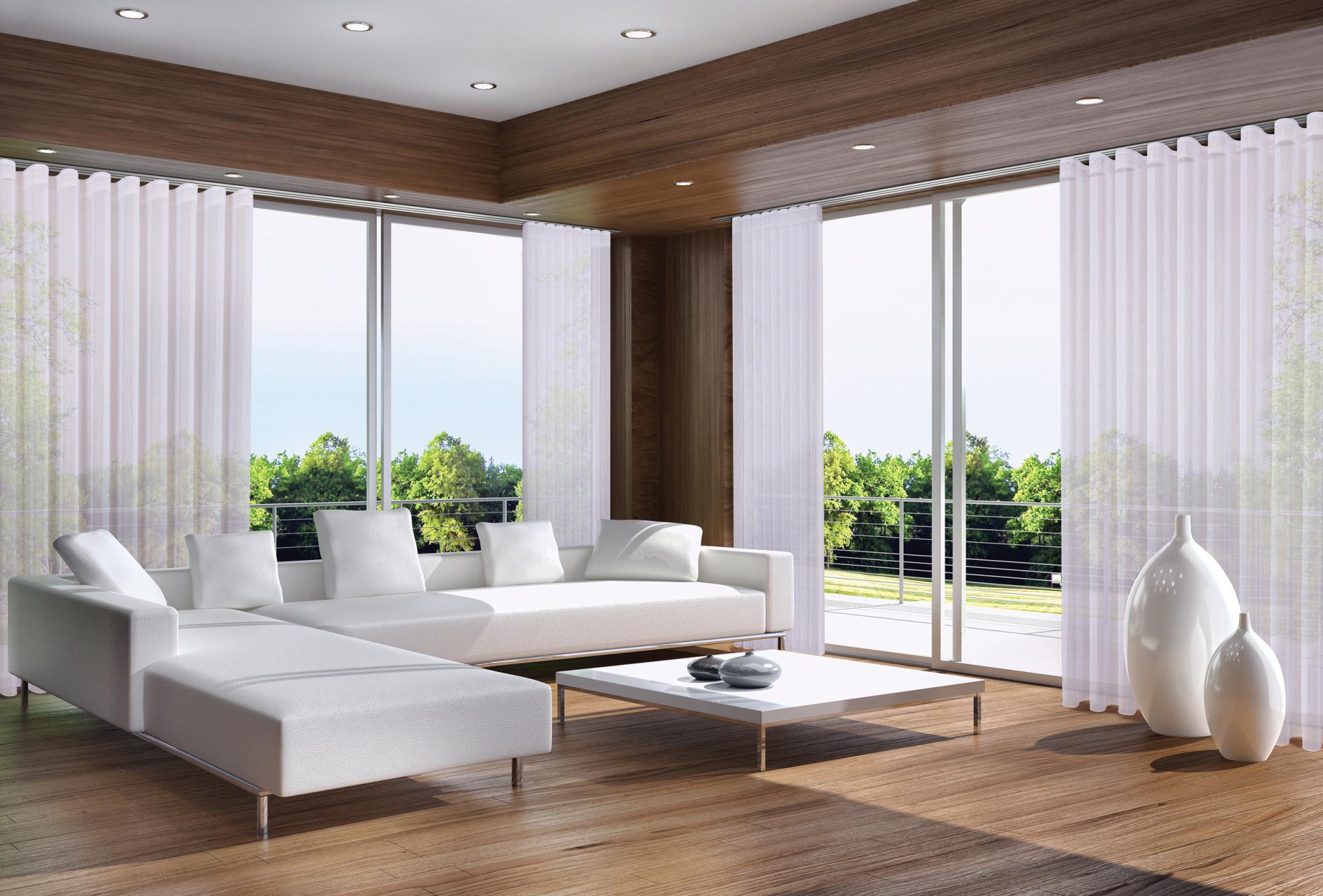 Gardinen Für Große Fensterfronten  Tipps Für Die Auswahl von Wohnzimmer Fensterfront Gardinen Bild