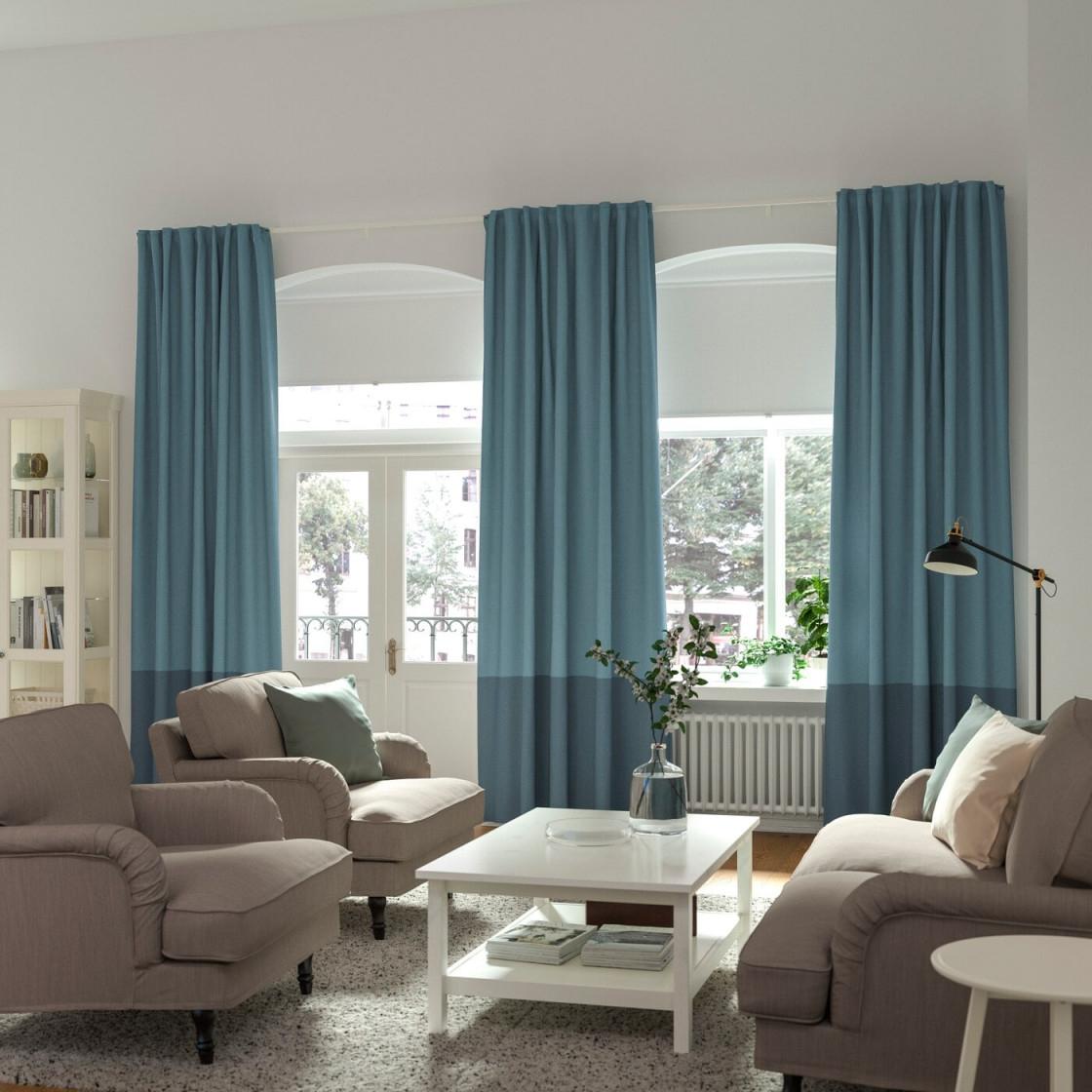 Gardinenideen Inspirationen Für Dein Zuhause  Ikea von Wohnzimmer Fensterfront Gardinen Bild