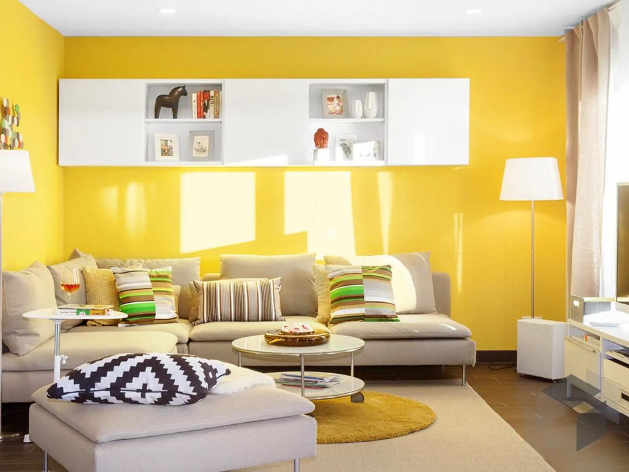 Gelbe Wand Im Wohnzimmer Deko In 2020  Schwörer Haus von Gelbe Deko Wohnzimmer Photo
