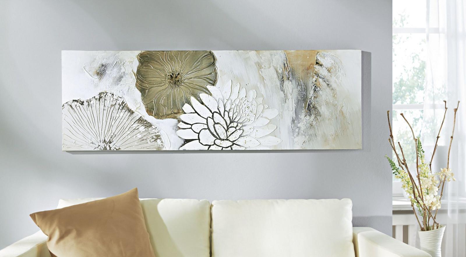 Gemälde Acrylbild Gemälde Blumen Blüten von Bilder Gemälde Für Wohnzimmer Photo