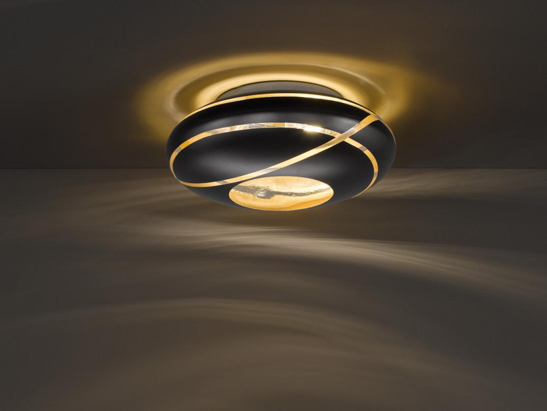 Glas Lampenschirm Deckenleuchte Ø40Cm Für Wohnzimmer In Schwarz  Innen Gold von Deckenleuchte Wohnzimmer Gold Photo