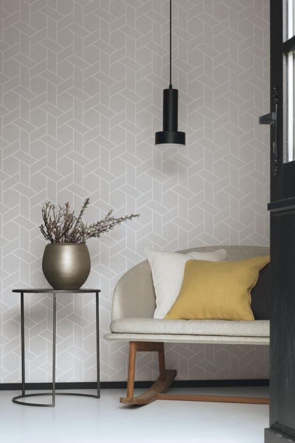Grafiktapete Helsinki Grau Mit Linien Im Skandinavischen von Aktuelle Wohnzimmer Tapeten Photo