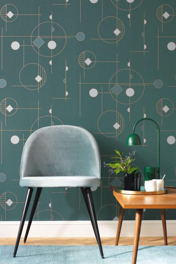 Grafische Tapete Geometric Im Satten Grün Im Retro Bauhaus von Tapeten Wohnzimmer Bauhaus Bild