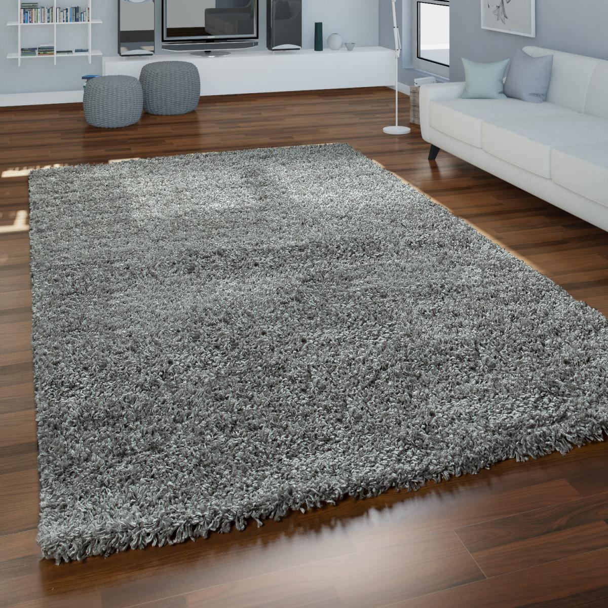 Grauer Hochflor Teppich Wohnzimmer Shaggy Flauschig Weich Strapazierfähig von Hochflor Teppich Wohnzimmer Bild